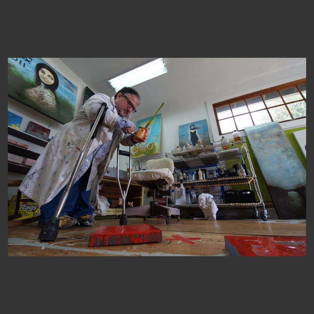 Sam Roloff in Artist Studio on Flotoma in Portland Oregon photos by Jeremy Roloff 2011 April, lab coat, smock