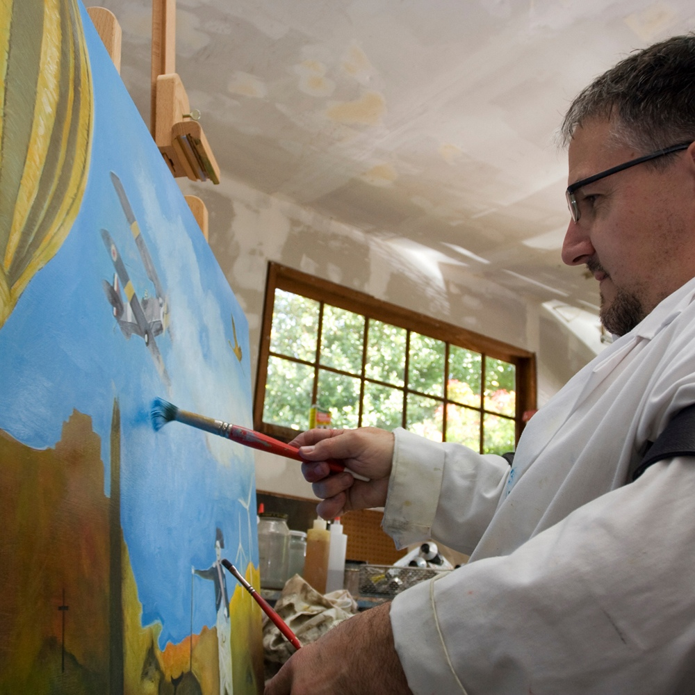 Sam Roloff painting in his Studio in Portland Oregon USA