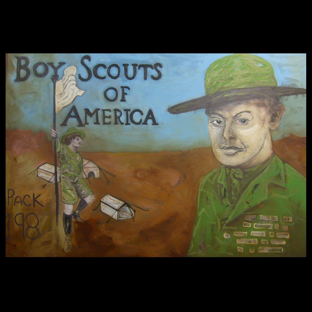 Boy Scouts of America painting in Progress by Sam Roloff
