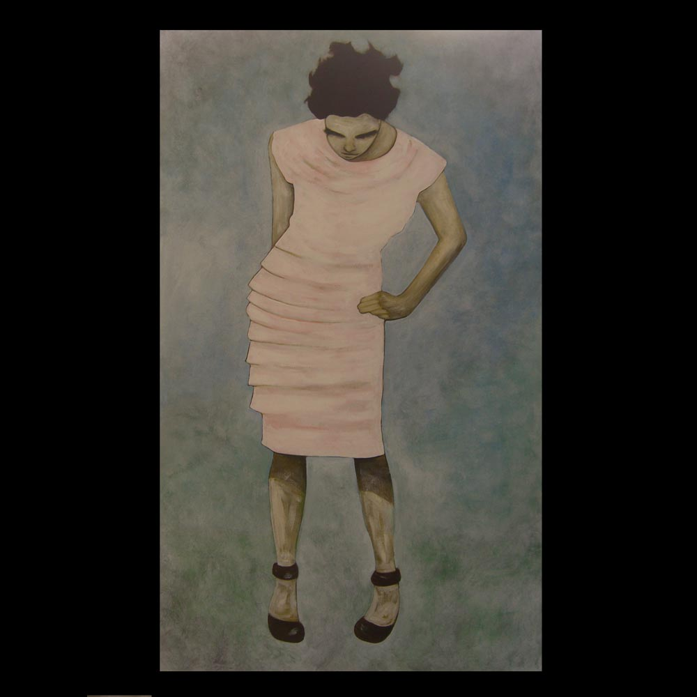 woman in Pink dress, Painting by Sam Roloff