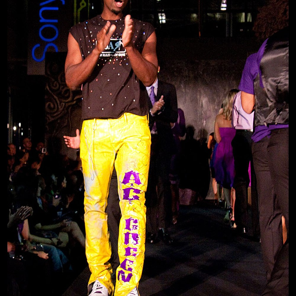 AC Green on fashion runway with custom pants by Sam Roloff