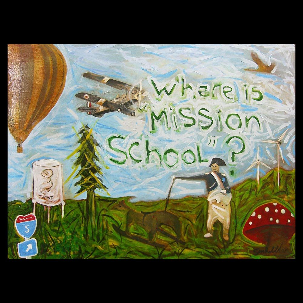 "Painting ""Where is Mission School\"" by Sam Roloff"