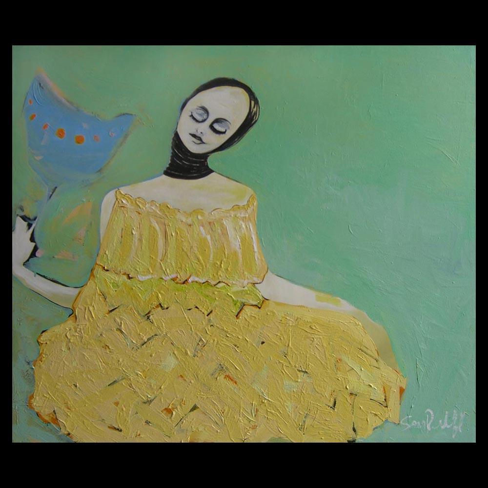 "Painting ""Woman with Popy\"" by Sam Roloff - SOLD"