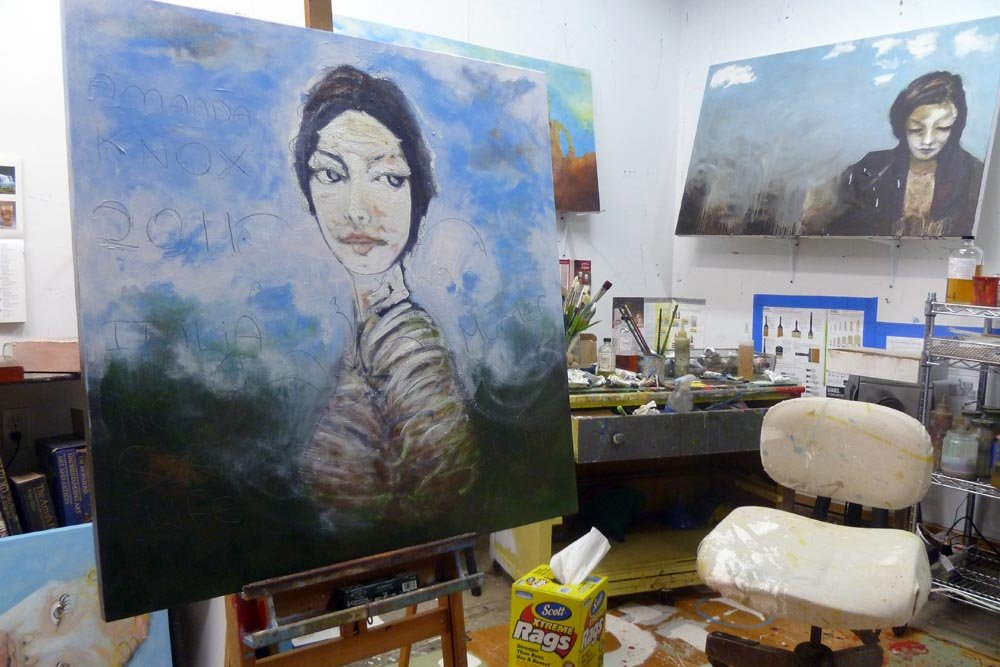 Amanda Knox painting in the Portland studio of Sam Roloff