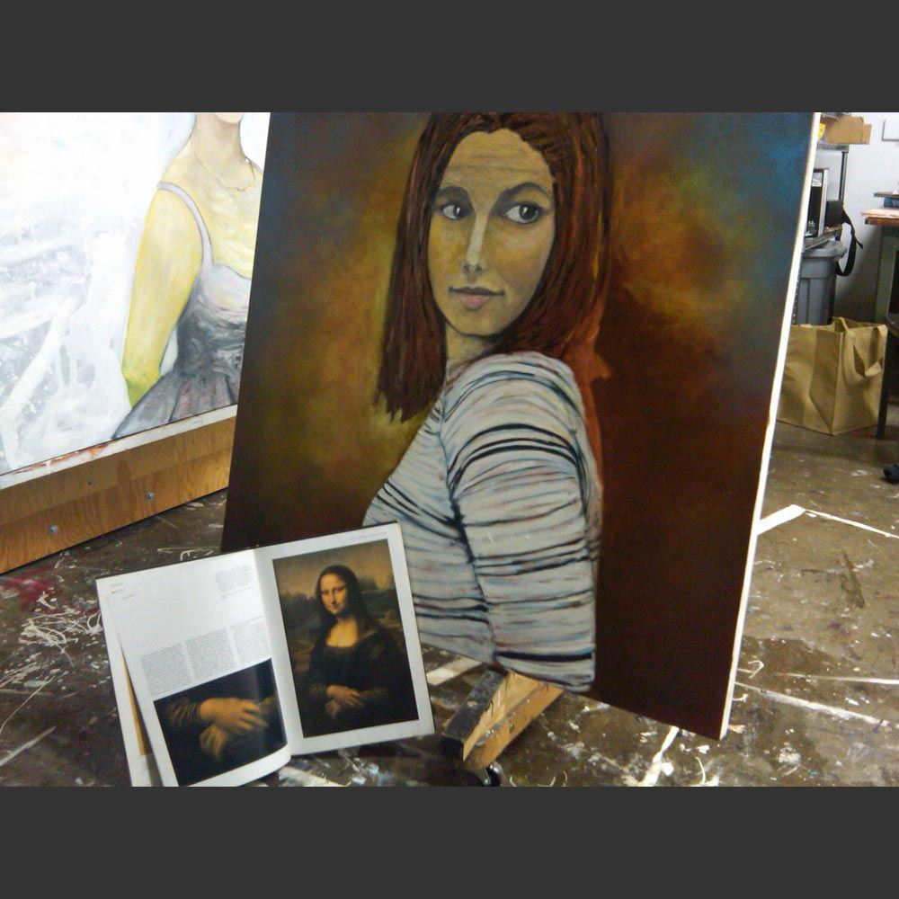 Amanda Knox painting in Progress by Sam Roloff