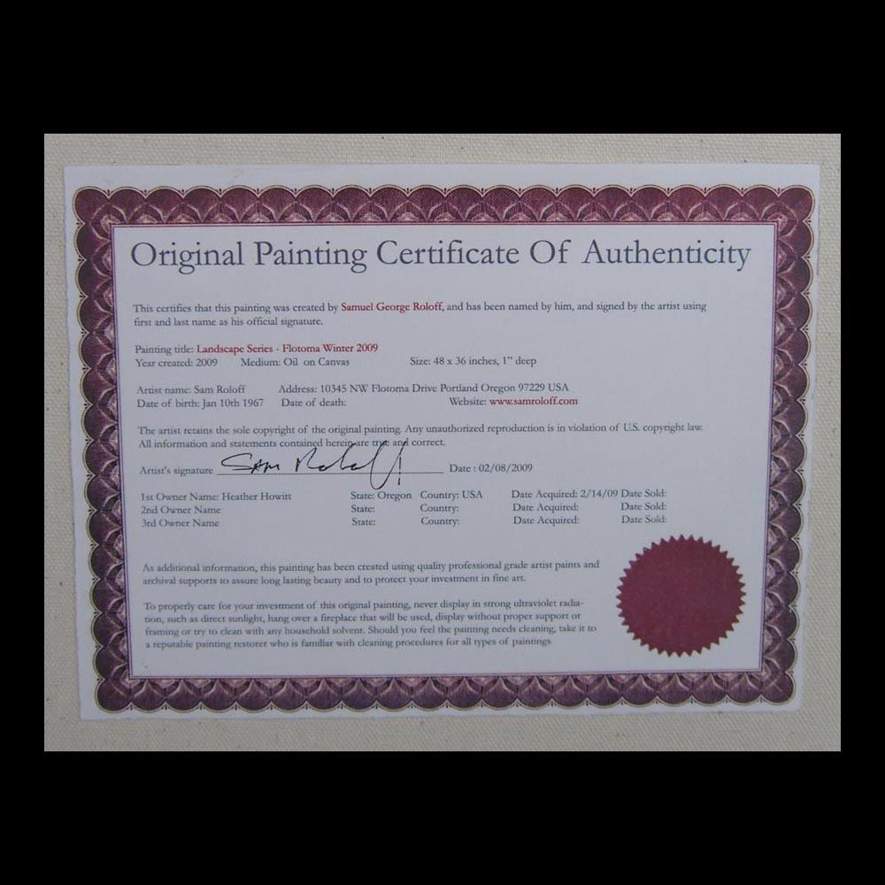 Actual photo of The Certificate of Authenticity
