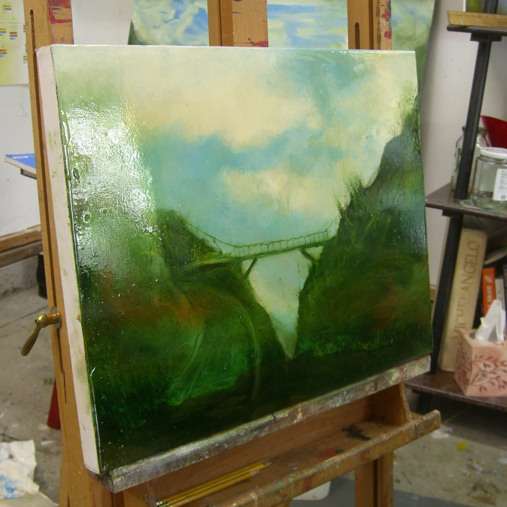 Side photo of painting in studio of Mossy Bridge Small