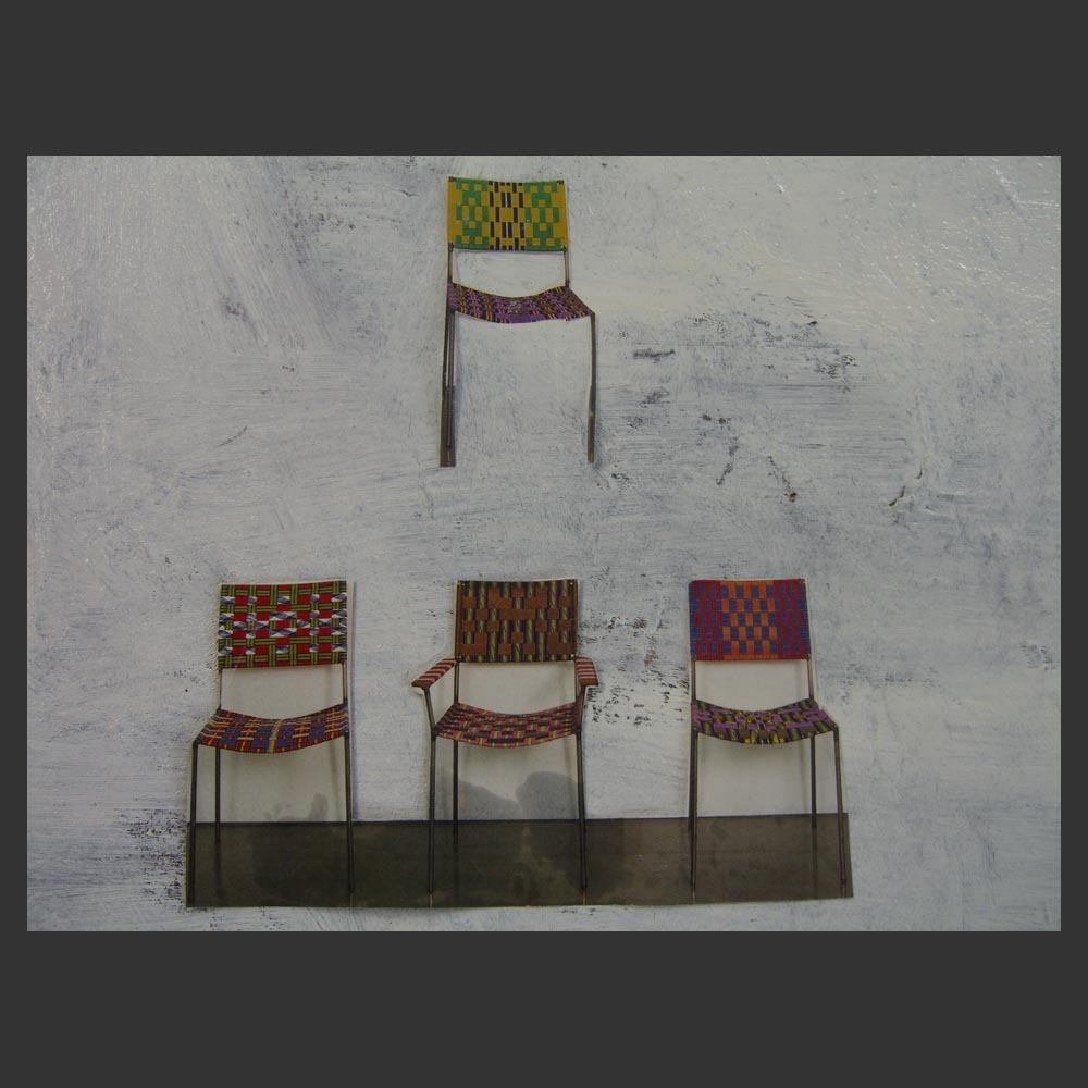 Franz West\'s Uncle Chairs 2003 now part of a Collage Oil Painting by Sam Roloff