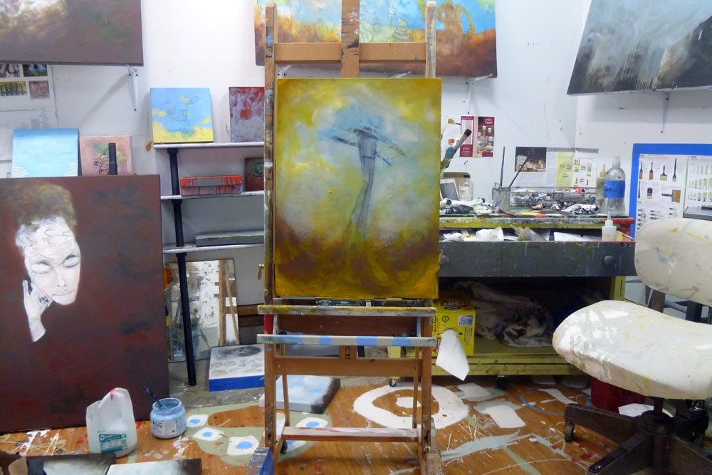 Portland Aerial Tram painting in the Flotoma Studio of Artist Sam Roloff of Portland Oregon 2011