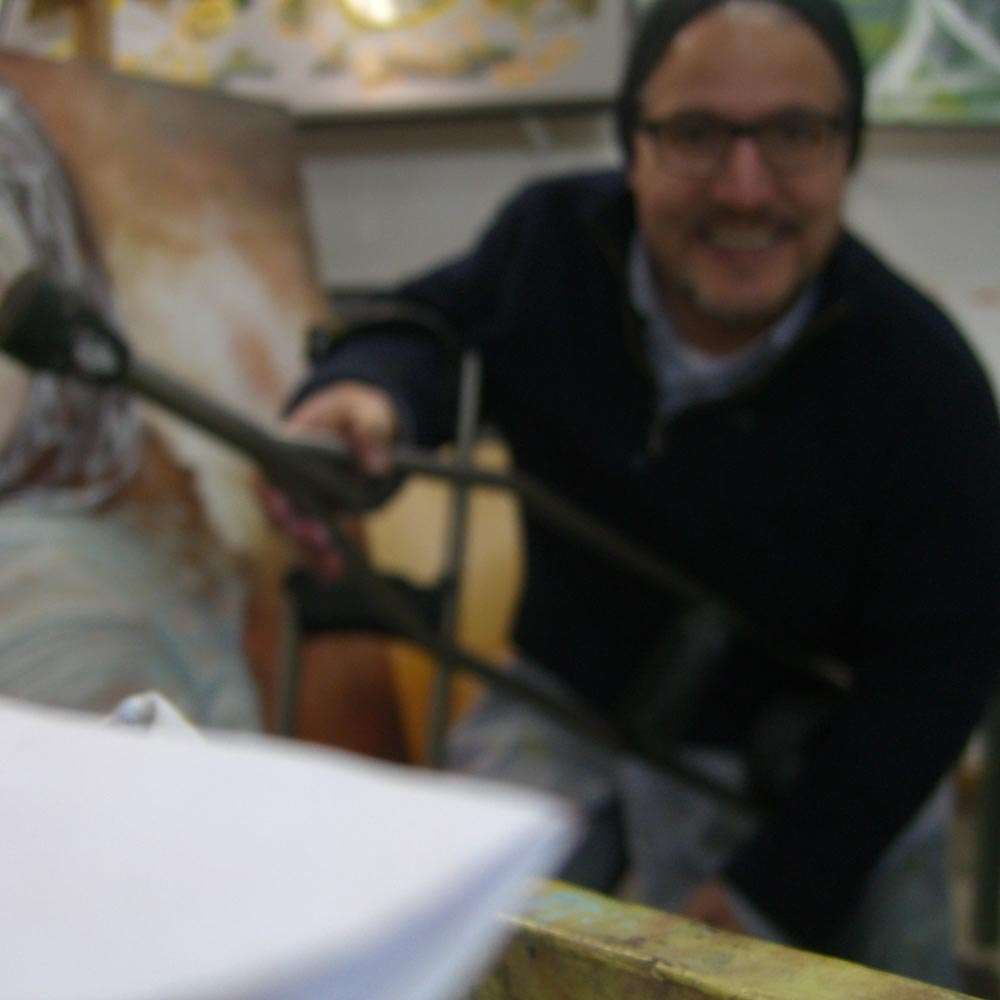 Sam Roloff in his Studio in Portland Oregon USA