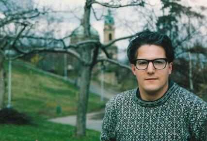 Sam Roloff behind the Academy of Fine Arts in Prague