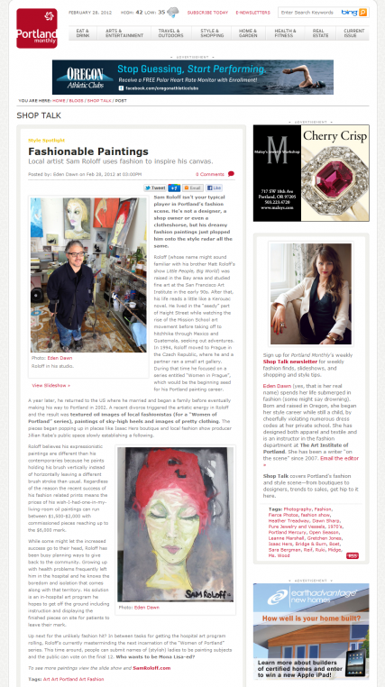 Portland Monthly online Blog by Eden Dawn 2012