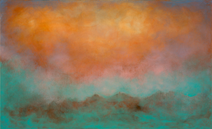 Teal Mountains 3194 Oil on Canvas Sam Roloff 48x30 inches 2012
