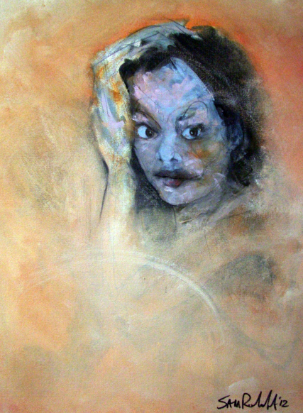 Julie Alexander 3228 Oil on Canvas portrait Painting Sam Roloff 18x24 inches 2012