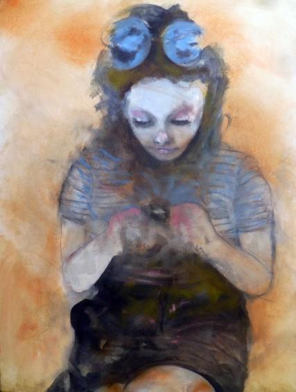 Carlotta on Smart Phone 3233 Oil painting on canvas Sam Roloff Portland Women