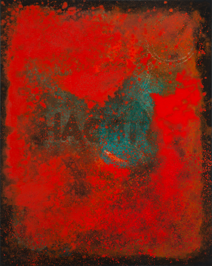 3243 Hachiya Persimmon Oil abstract painting 40x60 inch Sam Roloff Red Series