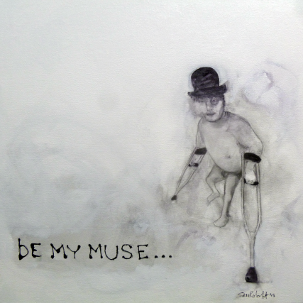 Be My Muse... dwarf on crutches with derby hat bowler #samroloff #artistselfportrait #bemymuse