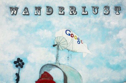 """Google Blimp"" Detail of Wanderlust painting by artist Sam Roloff"