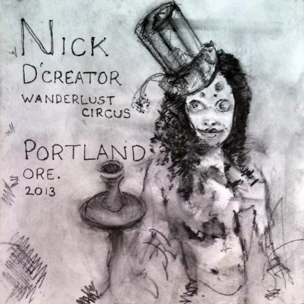 Nick D'Creature of Wanderlust Circus 2013 | Sam Roloff | 8x8 inches Graphite on Panel