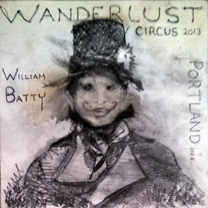 Noah Mickens of Wanderlust Circus 2013 | Sam Roloff | 8x8 inches Graphite on Panel