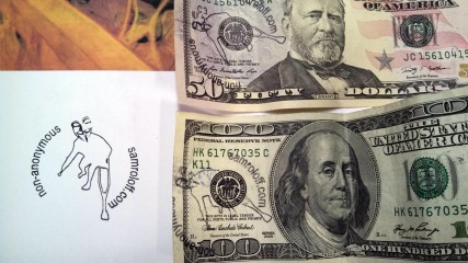 Defaced US $50 fifty and one hundred $100 Dollar Bill #Non-anonymous samroloff.com Money