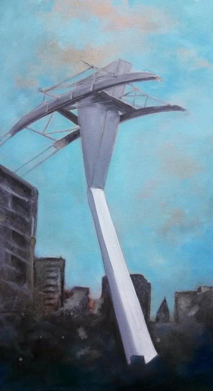 #gobytram #pdx #art #oilpainting #samroloff #portland #PortlandAerialTram