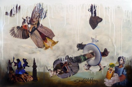 Sheep to the Slaughter Mixed Media 36x24 in Sam Roloff