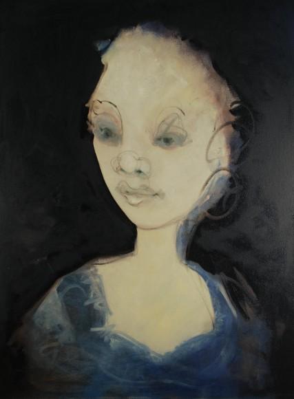 Carlotta Oil painting of woman sad eyes Sam Roloff 3245