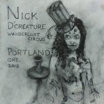 Nick D'Creature of wanderlust circus painting by sam roloff