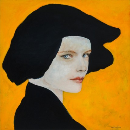 Olympiada Woman with hat yellow and black portrait of woman sam roloff portland oregon artist