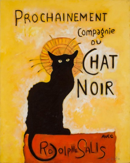 le chat noir oil painting by sam roloff black cat french poster art