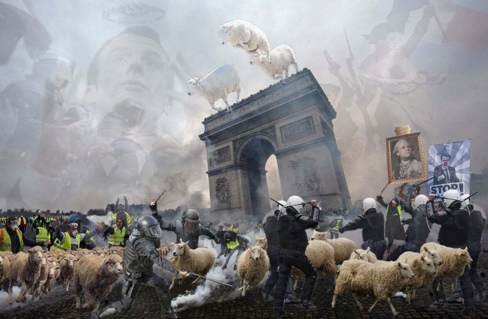 "yellowvest protests Paris 2019 yellow vests Act XIV ""Gilets Jaunes"" Macron art collage photoshop art"