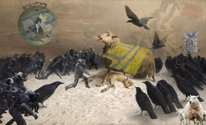 Yellow Vest Protests Crows Vs SheepAlbrecht Schenck Painting Sheep Birds Classic Art Crow