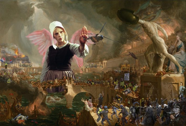 Yellow Vests Protests Act 23 Destruction of Notre Dame Thomas Cole The Course of the Empire - Destruction Scarlett Johansson
