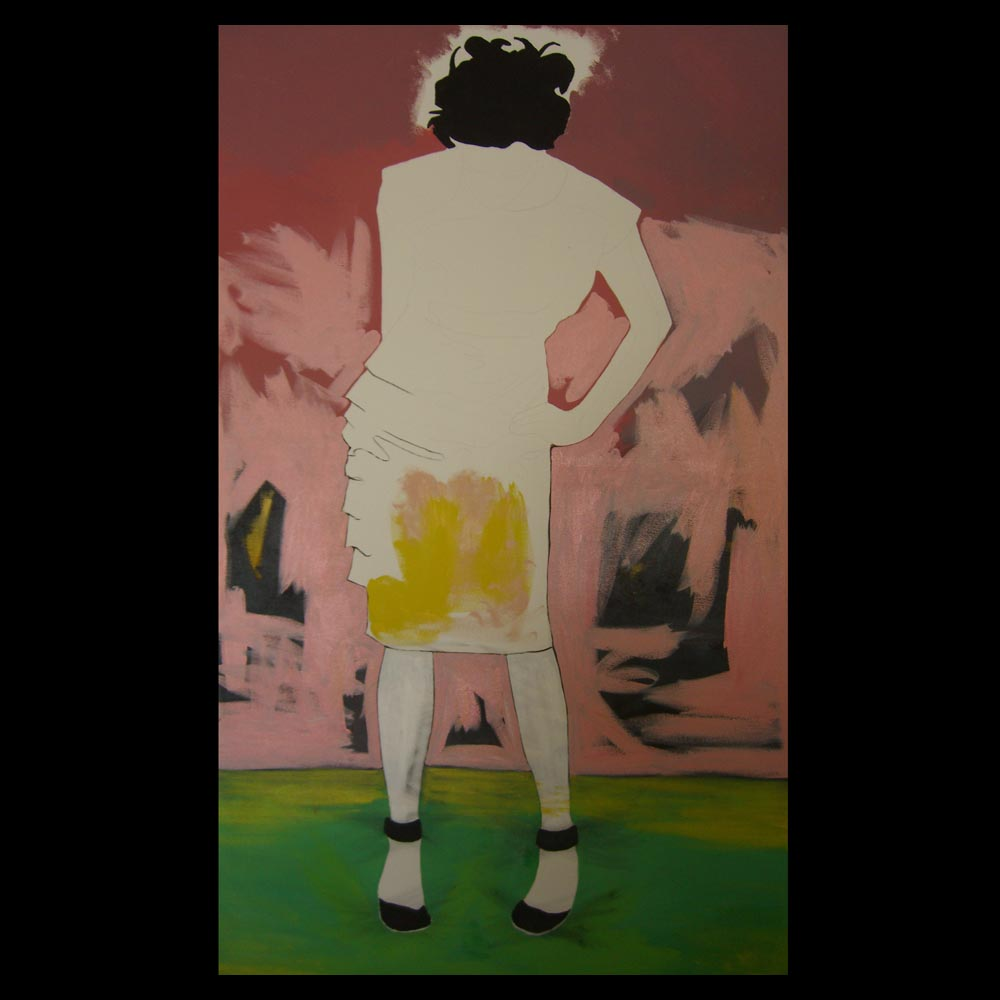 First Day painting the woman in pink dress by Sam Roloff
