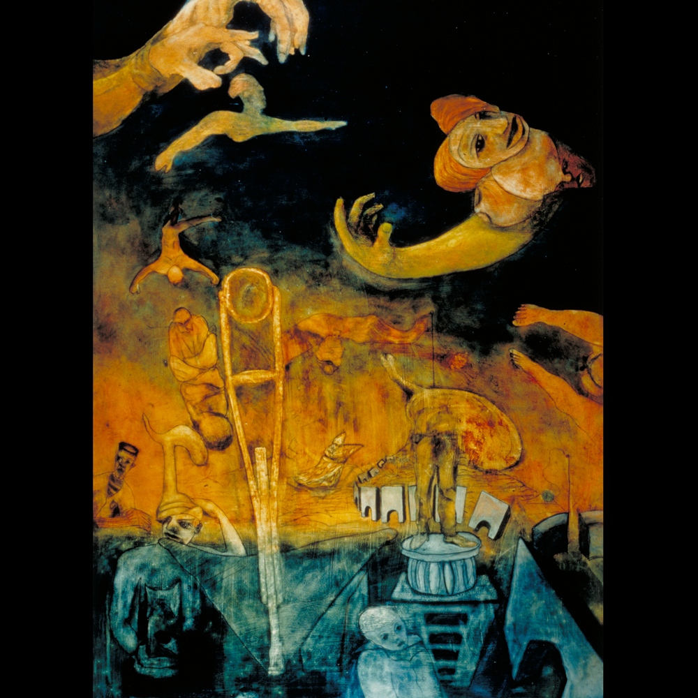 """Painting \""""Fear of the Circus\"""" by Sam Roloff - SOLD"""