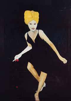 the Original Woman on Stairs with Turban by Artist Sam Roloff