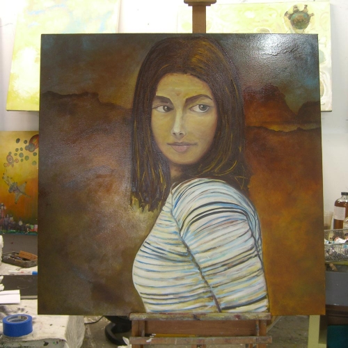 Amanda Knox as The Mona Lisa Painting by Sam Roloff