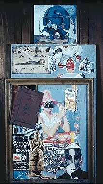 Collage on wood panel with book