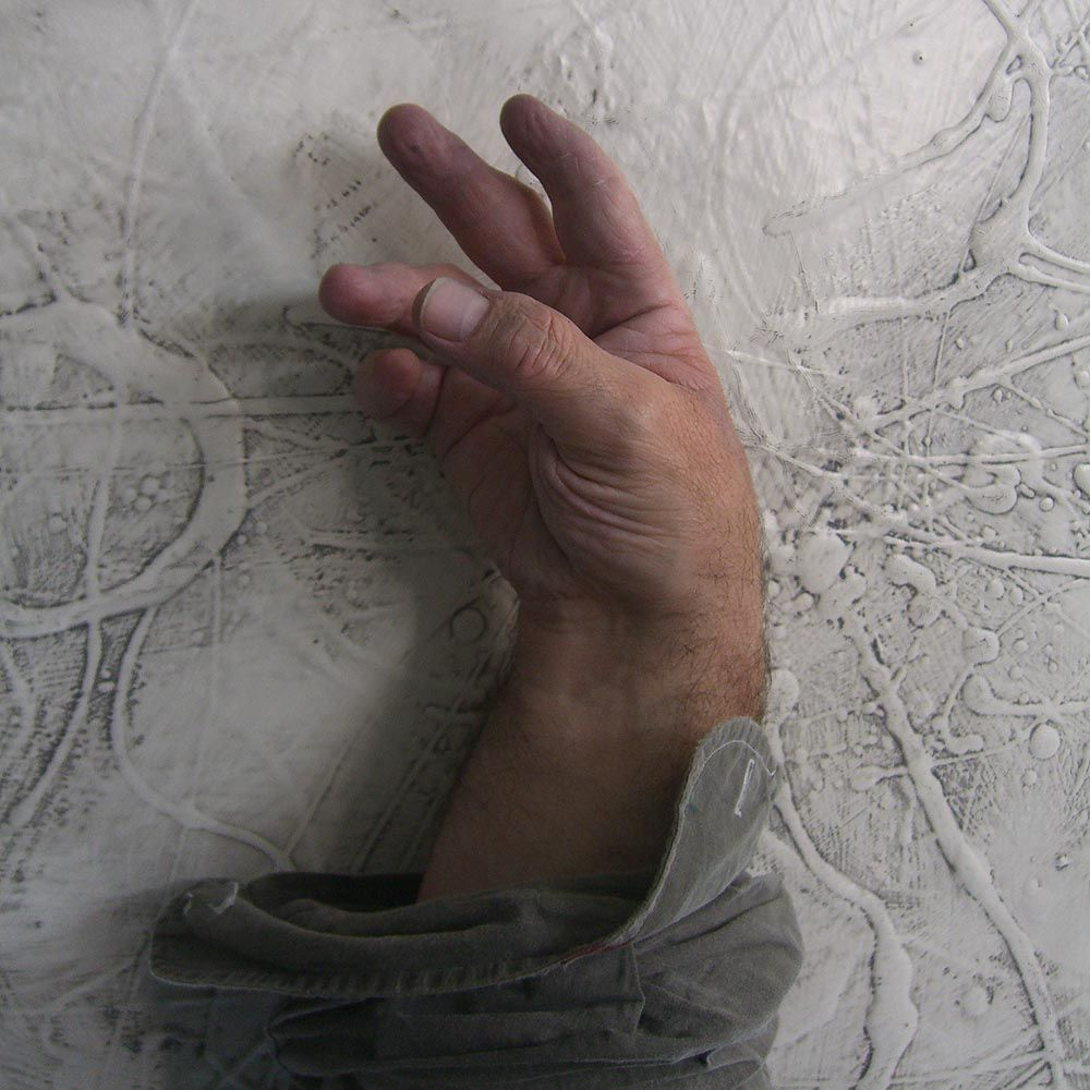 Sam Roloff\'s Right Hand in front of painting Hudson