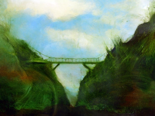 Mossy Bridge Small painting by Sam Roloff