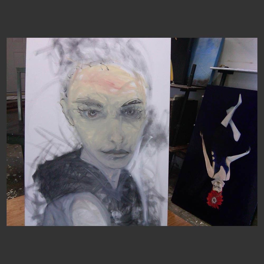 First phase of painting Vogue Woman    